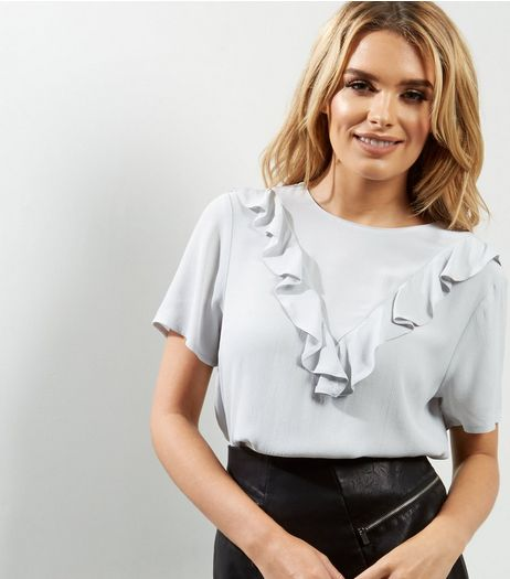 Pale Grey Frill Trim Short Sleeve T-Shirt  | New Look