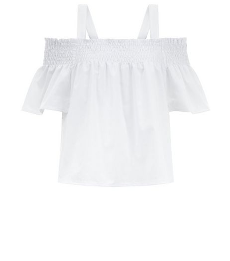 Teens White Bardot Crop Top | New Look
