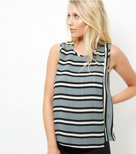 Pale Grey Contrast Stripe Sleeveless Top | New Look