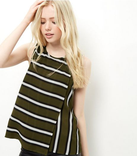 Khaki Stripe Print Sleeveless Top | New Look