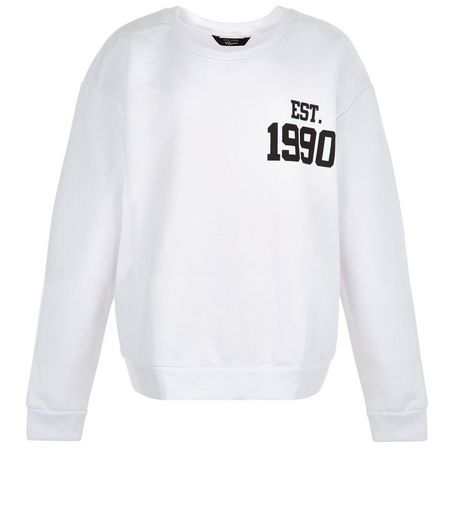 Teens White 1990 World Tour Sweater | New Look