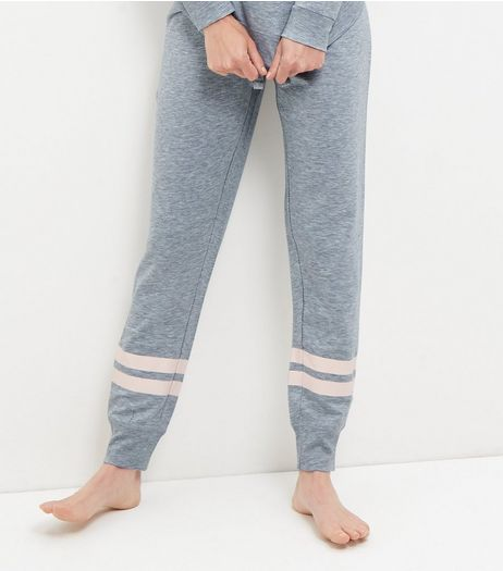 Grey Contrast Stripe Pyjama Joggers | New Look