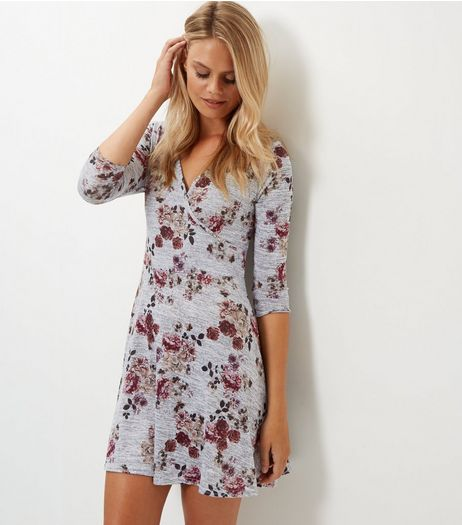 Grey Floral Print Wrap Front Dress | New Look