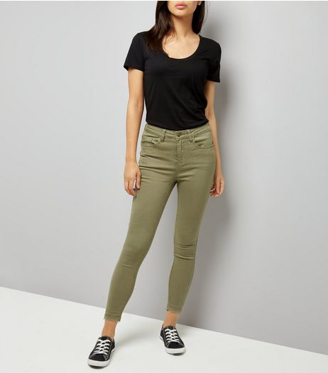 Khaki Washed Skinny Jeans  | New Look