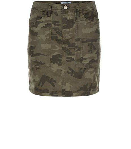Teens Khaki Camo Print Skirt | New Look