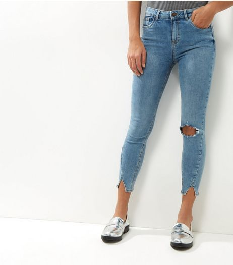 Blue Asymmetric Hem Ripped Skinny Jeans | New Look