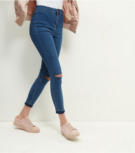 Blue Ripped Knee High Waist Super Skinny Jeans  | New Look