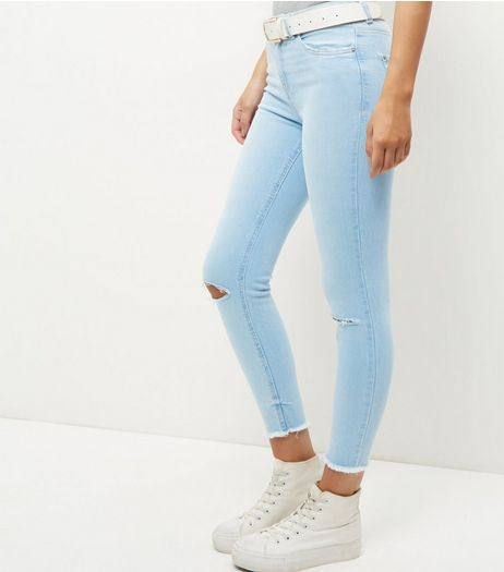 Blue Fray Hem Ripped Knee Skinny Jeans  | New Look