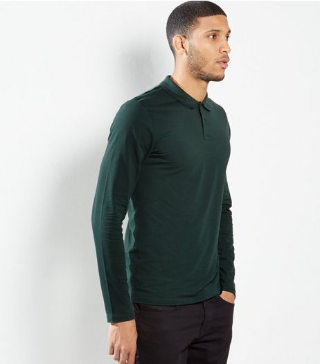 Green Polo Neck Long Sleeve T-Shirt | New Look