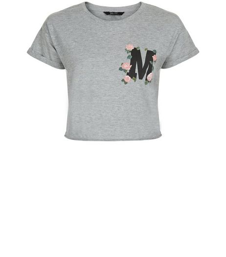 Teens Grey M Floral Print Crop Top | New Look