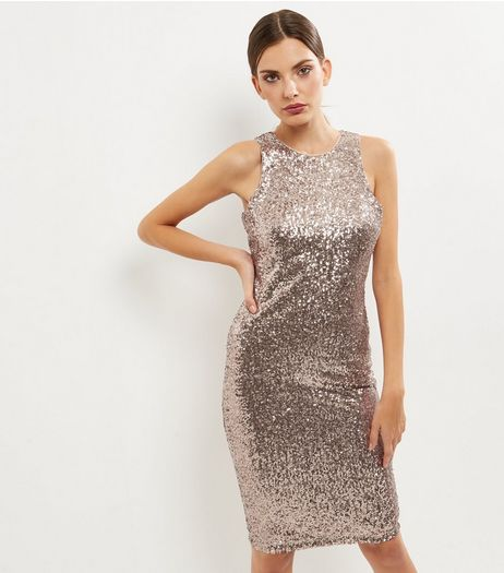 Bronze Sequin Sleeveless Midi Bodycon Dress | New Look