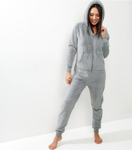 Grey Soft Hooded Onesie  | New Look