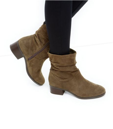 Wide Fit Khaki Suedette Ruched Ankle Boots | New Look
