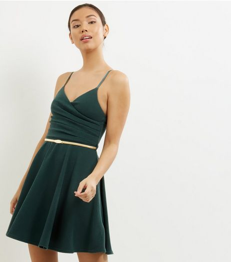 Dark Green Crepe Belted Skater Dress | New Look