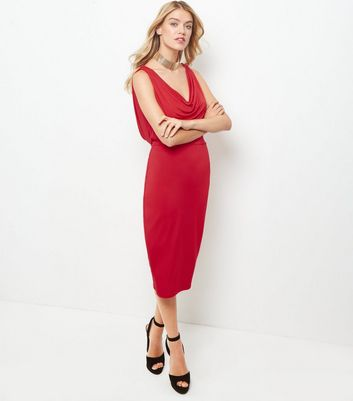 Red Cowl Neck Sleeveless Bodycon Midi Dress