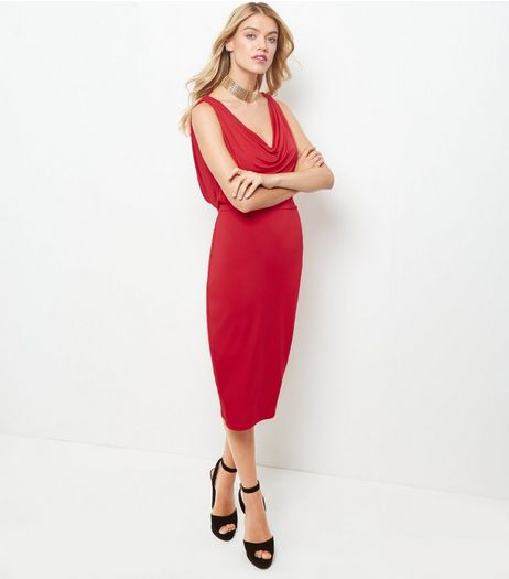 Red Cowl Neck Sleeveless Bodycon Midi Dress  | New Look