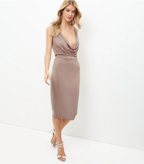 Mink Cowl Neck Sleeveless Bodycon Midi Dress  | New Look