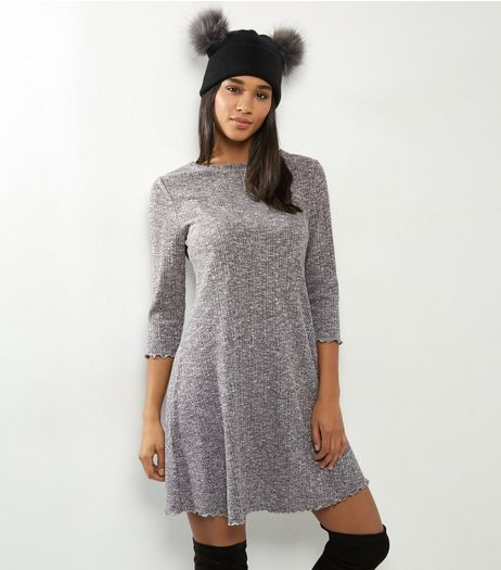 Grey Ribbed 3/4 Sleeve Swing Dress | New Look