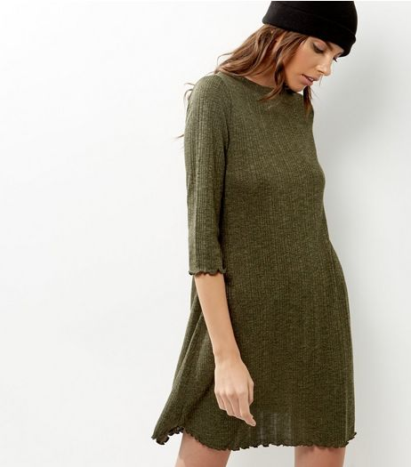 Khaki Ribbed Long Sleeve Frill Trim Swing Dress | New Look