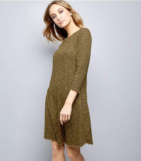 Yellow Ribbed 3/4 Sleeve Swing Dress | New Look
