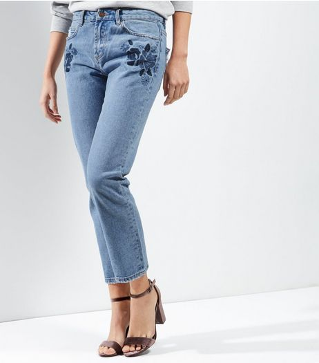 Blue Floral Embroidered Straight Leg Jeans  | New Look