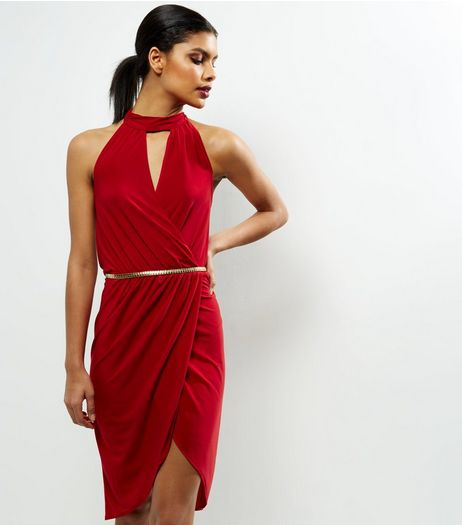 Red Choker Neck Belted Bodycon Dress | New Look