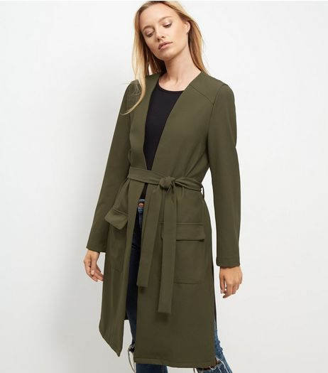 Cameo Rose Khaki Belted Longline Jacket | New Look