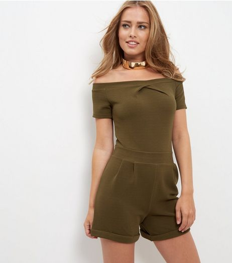 Cameo Rose Khaki Bardot Twist Neck Playsuit  | New Look