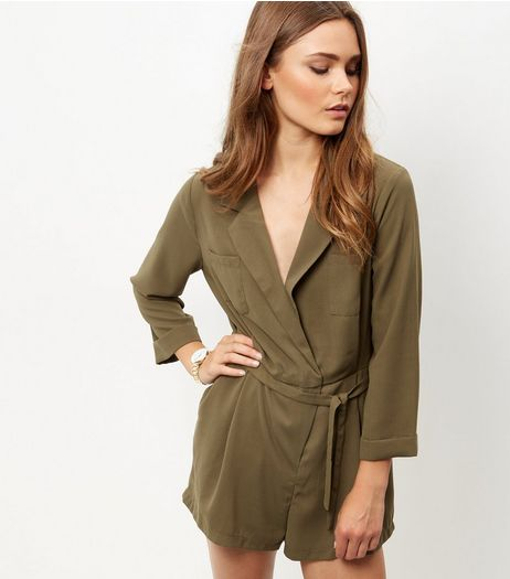 Cameo Rose Khaki Belted Playsuit  | New Look