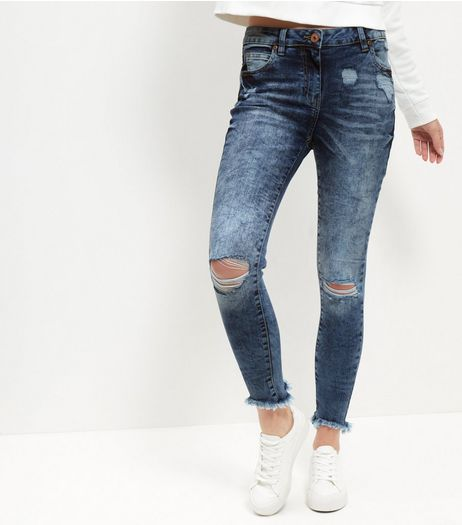 Parisian Blue Washed Fray Hem Ripped Jeans  | New Look