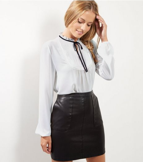 White Tie Neck Rib Bib Shirt | New Look