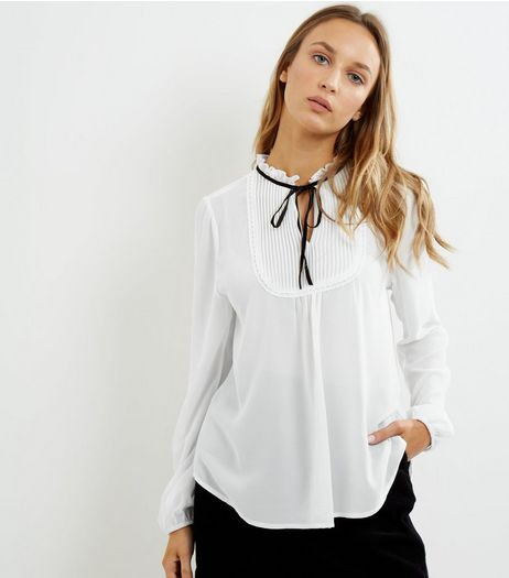 Cream Tie Neck Pleated Front Shirt | New Look