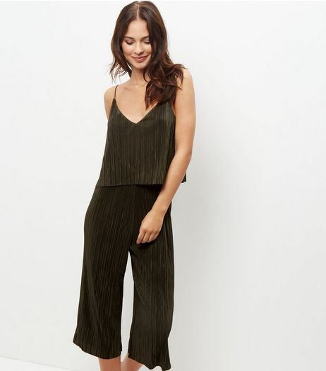 Khaki Pleated Layered Jumpsuit  | New Look