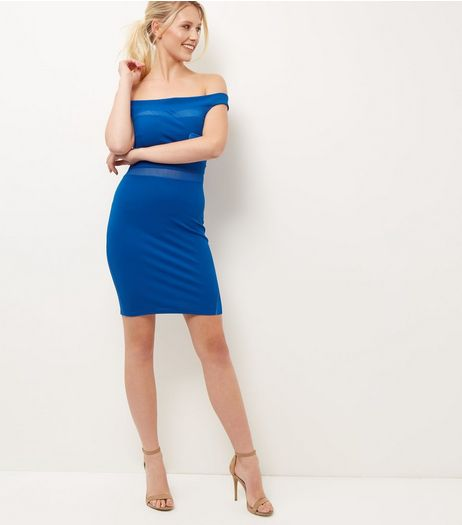 Blue Mesh Panel Bardot Neck Mini Dress  | New Look