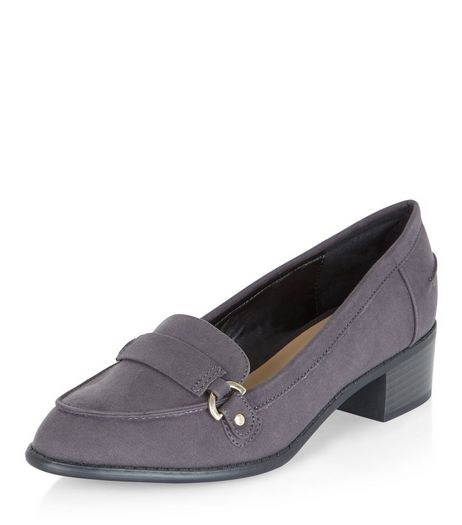 Teens Grey Suedette Loafers | New Look