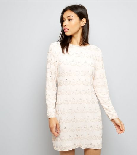 Shell Pink Premium Beaded Scoop Back Tunic Dress | New Look
