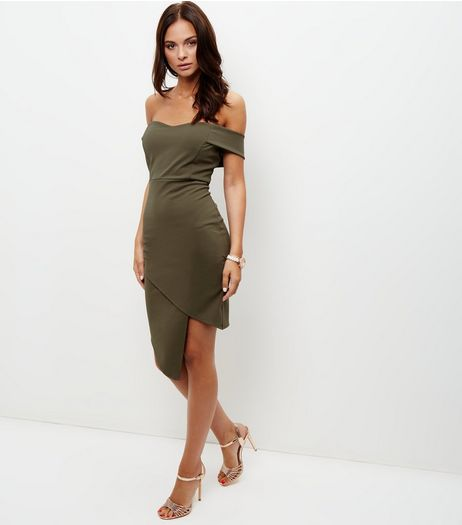 Khaki Bardot Neck Wrap Front Bodycon Dress  | New Look