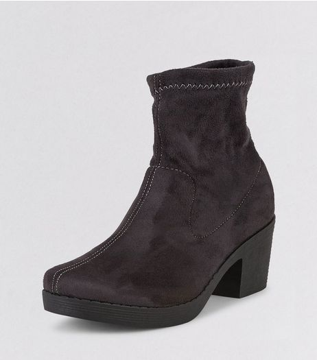 Teens Grey Suedette Sock Boots | New Look