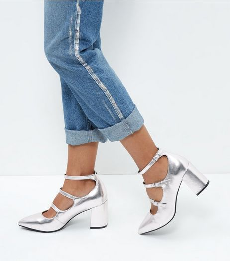 Wide Fit Silver Patent Triple Strap Pointed Block Heels  | New Look