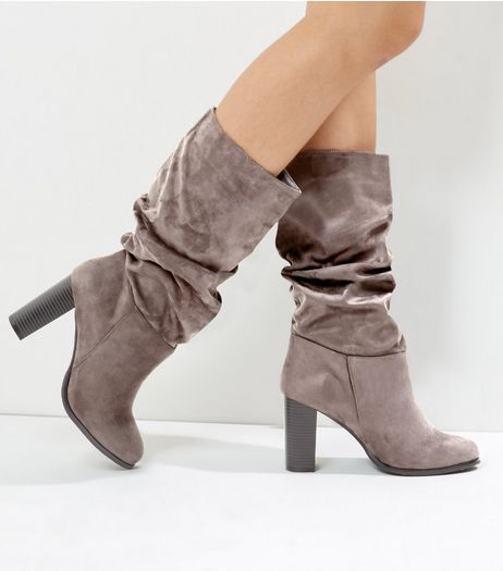 Wide Fit Grey Suedette Ruched Top Heeled Boots | New Look