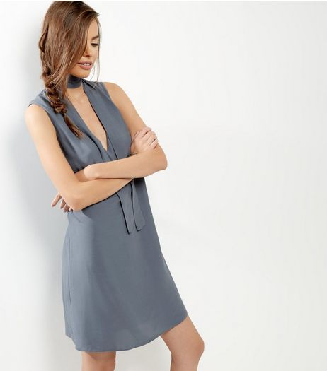 Grey Tie Neck Sleeveless Tunic Dress | New Look