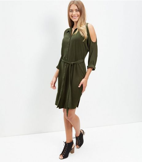 Khaki Cold Shoulder Shirt Dress  | New Look