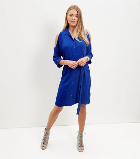 Blue Cold Shoulder Shirt Dress  | New Look