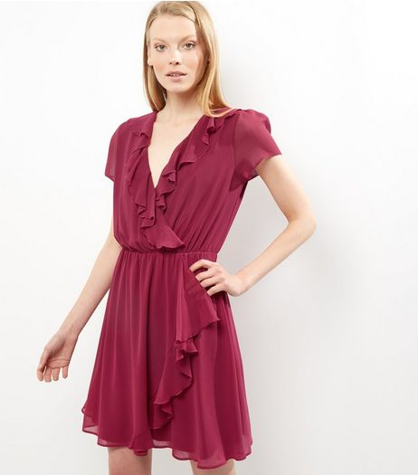 Purple Chiffon Frill Trim Wrap Front Dress | New Look