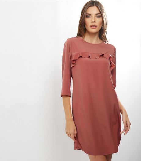 Shell Pink Yoke Frill Trim 1/2 Sleeve Tunic Dress | New Look
