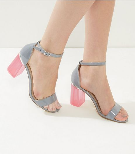 Grey Suede Contrast Perspex Flared Heeled Sandals | New Look