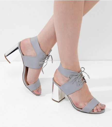 Grey Leather Lace Up Metal Block Heeled Sandals | New Look