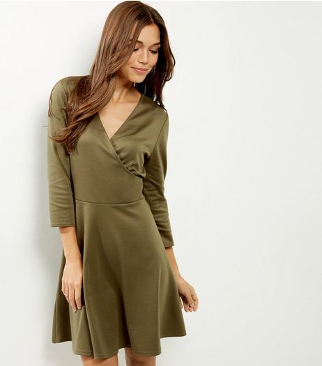 Khaki Wrap Front V Neck Dress | New Look