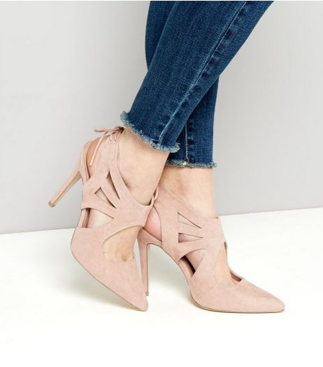 Creme Suedette Cut Out Tie Back Heels | New Look