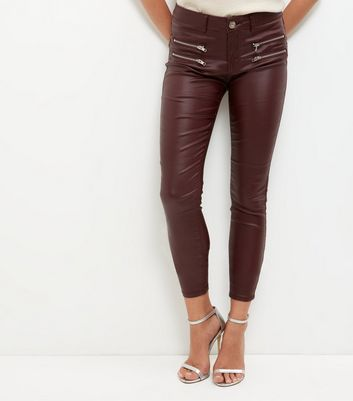 Parisian Burgundy Coated Skinny Jeans